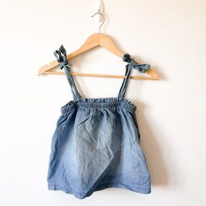 Hollister Blue Chambray Tie Strap Crop Tank Top XS